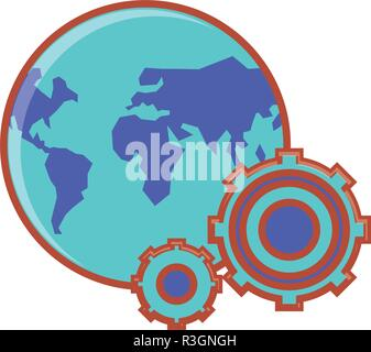 gear machinery with planet earth vector illustration design - Stock Photo