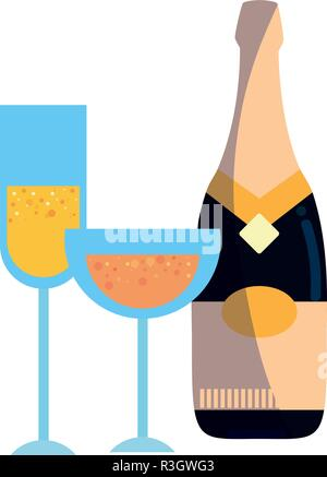 champagne bottle and glasses celebration vector illustration - Stock Photo
