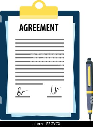 Signed agreement with pen - Stock Photo