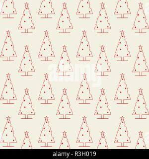 merry christmas pine trees decoration pattern vector illustration - Stock Photo