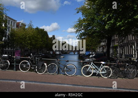 A Beautiful Fall Afternoon in Amsterdam Walking the Canals - Stock Photo