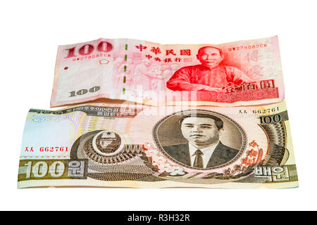 banknotes from korea and taiwan - Stock Photo