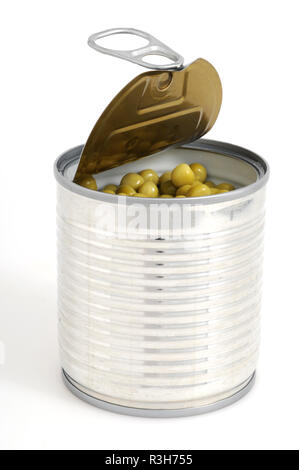 open can of peas - Stock Photo