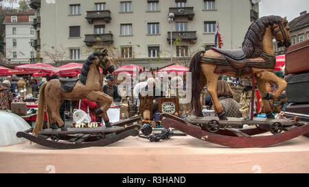Zagreb, Croatia, November 2018 - Antiquities displayed on one of the stands at the British Square Flea Market - Stock Photo