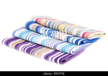 Colorful kitchen towels isolated on white background. - Stock Photo