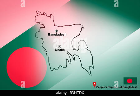 Bangladesh map and Dhaka with location map pin and Bangladesh flag on travel map of Asia - People's Republic of Bangladesh - Stock Photo