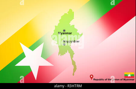 Myanmar map and Naypyidaw with location map pin and Myanmar flag on map travel of Asia - Republic of the Union of Myanmar - Stock Photo