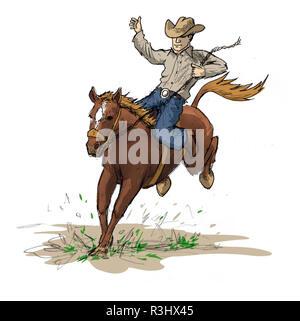 rodeo rider,illustration - Stock Photo