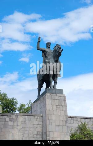 Equestrian statue of King Vakhtang Gorgasali, Tbilisi, Georgia - Stock Photo