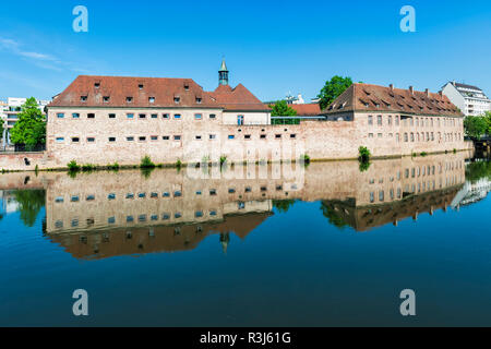 National School of Administration or ENA, elite school, in the former Commanderie Saint Jean along the ILL Canal, Strasbourg - Stock Photo