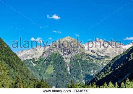 Bergkette mit saftigen Wiesen und großen Bäumen im idylischen Salzburger Land unter blauen Himmel. - Stock Photo
