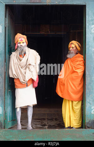 Hinduist Sadhus, Holy Men, Pashupatinath Temple, Kathmandu, Nepal - Stock Photo