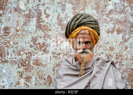 Hinduist Sadhu, Holy Man, Pashupatinath Temple, Kathmandu, Nepal - Stock Photo