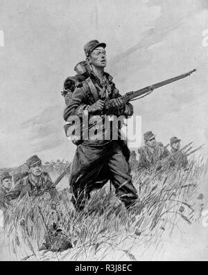 French soldiers, August 2014, Illustration, France - Stock Photo