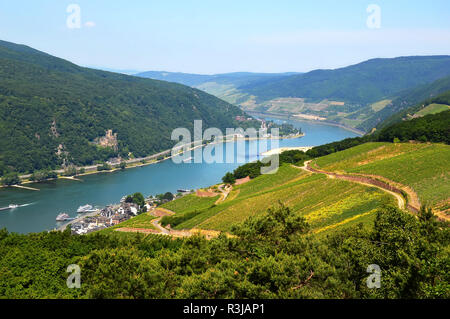 Amazing view over the river Rhine from the top of the hill in Rudesheim, Germany - Stock Photo