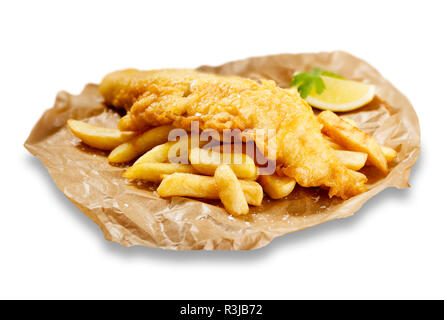 Isolated images of fish and chips, in brown paper, with a wedge of lemon. - Stock Photo
