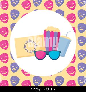 pop corn and movie related icons  over colorful background, vector illustration - Stock Photo