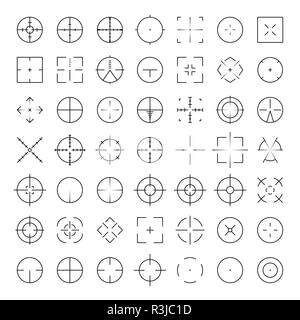 Automatic rifle sniper scope crosshairs thinline icon set. AR Collimator sight glyphs. Military war gun aim silhouettes - Stock Photo