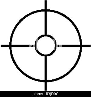 Military sniper rifle scope collimator sight icon - Stock Photo