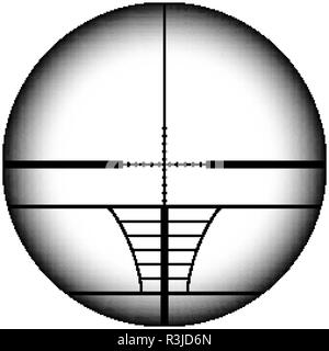Sniper rifle scope crosshairs.Military AR aiming collimator sight - Stock Photo