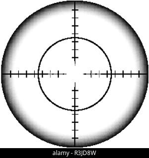 Military sniper rifle scope collimator sight icon - Stock Photo