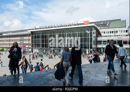 09.06.2017, Cologne, Northrhine-Westphalia, Germany, Europe - People are seen in front of the west entrance of the Cologne main railway station. - Stock Photo