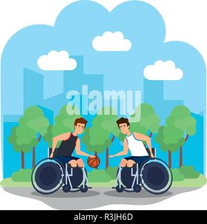 man in wheelchair playing basketball - Stock Photo