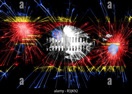 Swaziland fireworks sparkling flag. New Year, Christmas and National day concept - Stock Photo