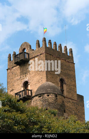 Fasilides' Castle in the fortress-city of Fasil Ghebbi (founded by Emperor Fasilides), UNESCO World Heritage Site, Gondar, Ethiopia - Stock Photo