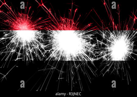 Yemen fireworks sparkling flag. New Year, Christmas and National day concept - Stock Photo