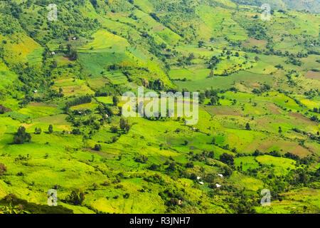 Village house and farmland in Simien Mountain, Ethiopia - Stock Photo