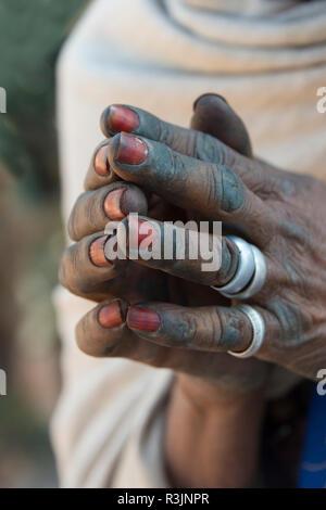 Pilgrim praying, Tigray, Ethiopia - Stock Photo