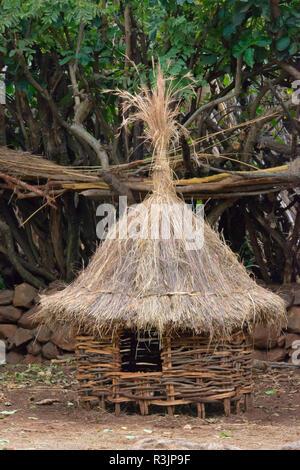 Konso Cultural Landscape (UNESCO World Heritage Site), chicken cage in the village, Ethiopia - Stock Photo