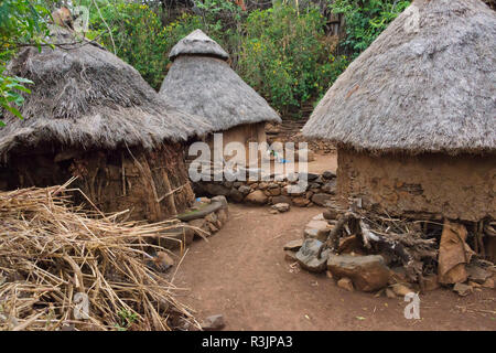 Konso Cultural Landscape (UNESCO World Heritage Site), village houses with thatched roof, Ethiopia - Stock Photo