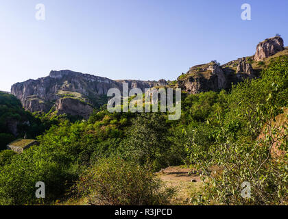 Goris Khndzoresk Hanging Bridge Ruins with Mountain and Cave Settlements View - Stock Photo