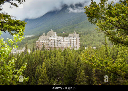BANFF, AB, CANADA - JUNE 2018: Scenic view of the Banff Springs Fairmont Hotel framed by evergreen trees. - Stock Photo