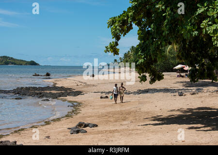 Madagascar, Nosy Be (Big Island) off the northwest coast of mainland Madagascar. Beach at Vanilla Hotel and Spa. - Stock Photo