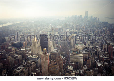 Manhattan viewed from the Empire State Building, looking south. The twin towers of the World Trade Center are visible. New York, USA., in Feb 2000. - Stock Photo