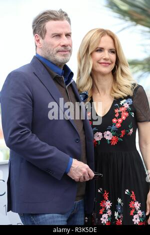 CANNES, FRANCE – MAY 15, 2018: John Travolta and Kelly Preston at the 'Gotti' photocall during the 71st Cannes Film Festival (photo by Mickael Chavet) - Stock Photo