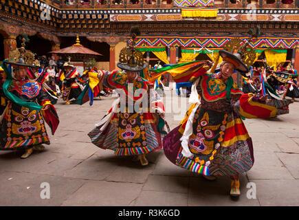 Dancers performing in the Paro 'Tsechu' or annual religious Bhutanese festival, Paro, Bhutan - Stock Photo