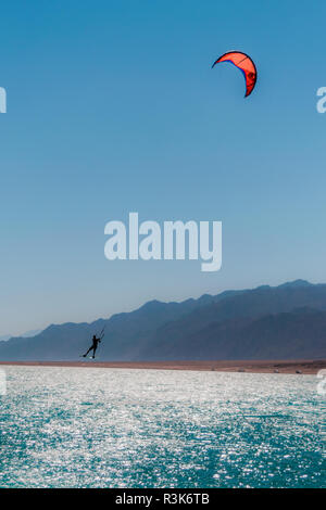 Kite surfing in Dahab Egypt - Stock Photo