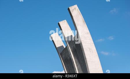 BERLIN, GERMANY - OCTOBER 21, 2018: Berlin Airlift Memorial Near Former Tempelhof Airport At Platz der Luftbrucke In Berlin, Germany - Stock Photo