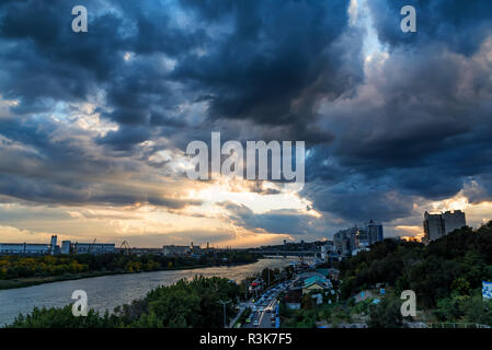 Panorama of Rostov-on-Don, Russia and river Don with cloudy sky - Stock Photo
