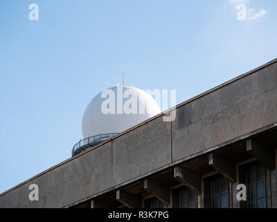 RRP 117 Radar Tower Behind A Terminal Building At Former Tempelhof Airport In Berlin, Germany - Stock Photo