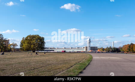 BERLIN, GERMANY - OCTOBER 10, 2018: Public City Park Tempelhofer Feld, Former Tempelhof Airport In Berlin, Germany - Stock Photo