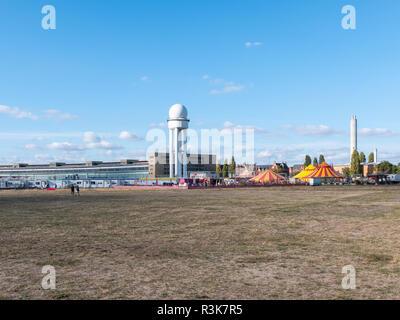 BERLIN, GERMANY - OCTOBER 21, 2018: Public City Park Tempelhofer Feld, Former Tempelhof Airport In Berlin, Germany - Stock Photo
