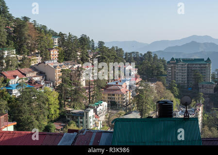 View of Shimla (Simla) from a high vantage point with the High Court, Shimla, Himachal Pradesh, India - Stock Photo