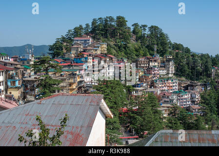 View of Kasumpti and the surrounding hillsides in Shimla, Himachal Pradesh - Stock Photo