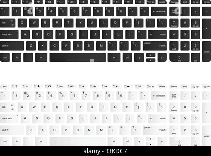 Computer keyboard vector isolated illustration. Black and white version - Stock Photo