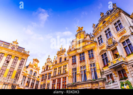 Bruxelles, Belgium. Night image with medieval architecture in Grand Place (Grote Markt). - Stock Photo